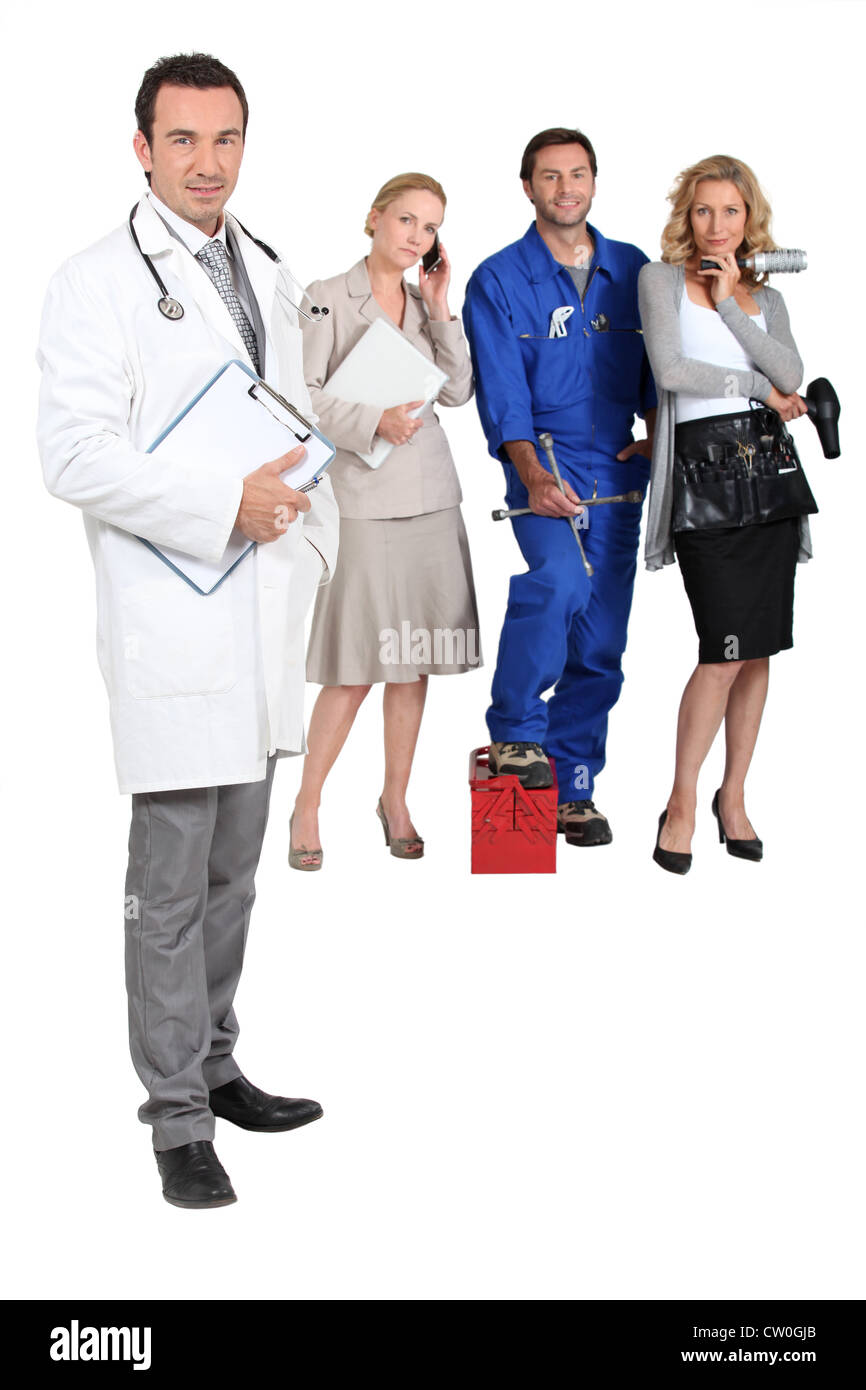 Doctor, mechanic, MD and secretary. - Stock Image