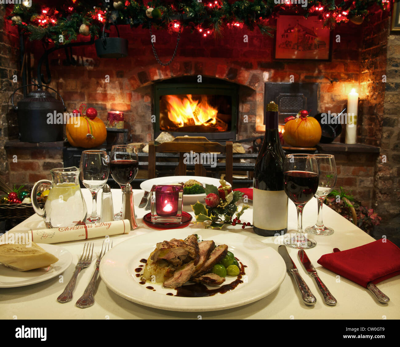 Christmas Dinner Table Food Candle Stock Photos Christmas Dinner
