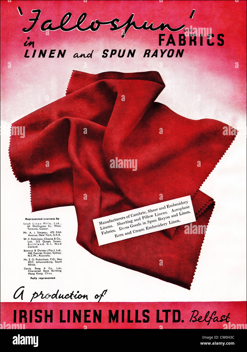 Vintage print advertisement from textile manufacturers