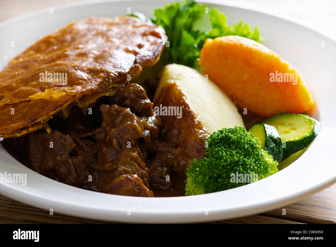 Plate of steak and kidney pie - Stock Image