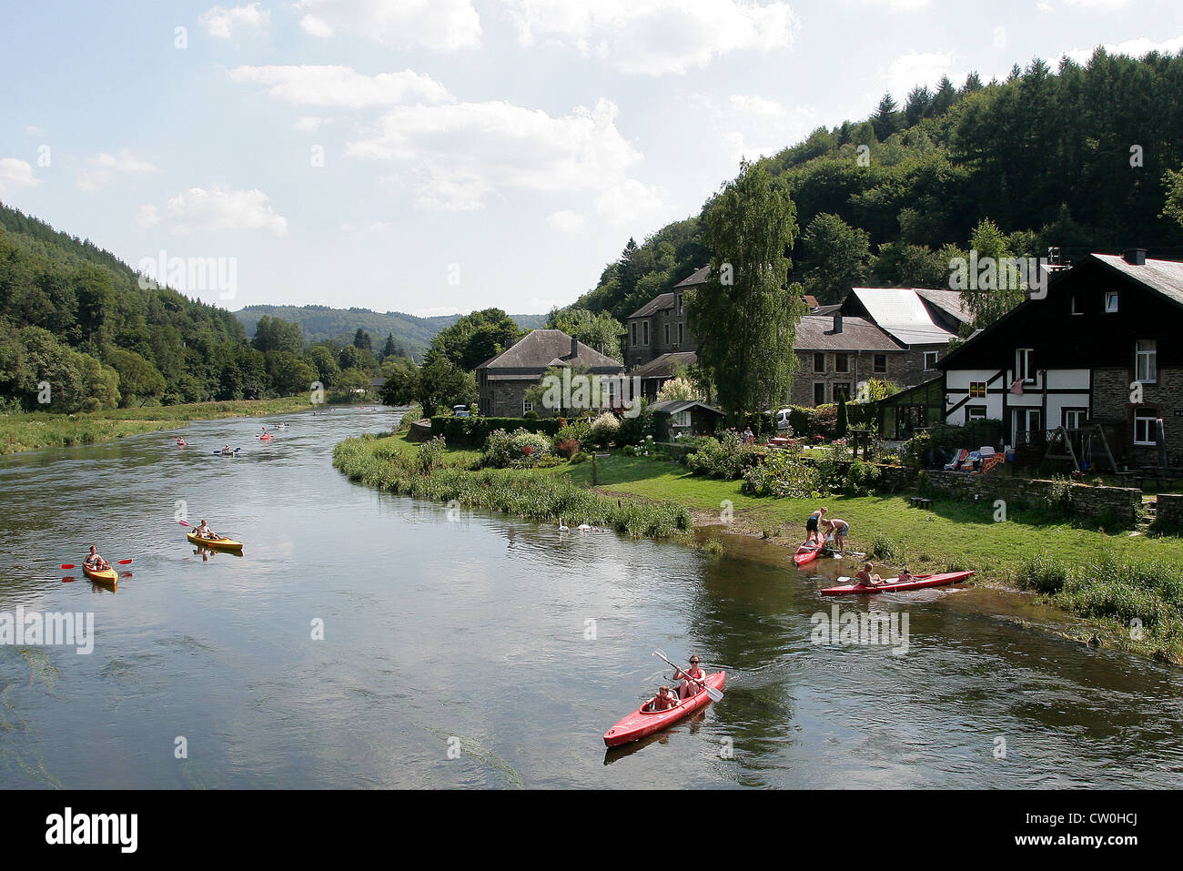 Canoeing.Ardennes.Belgium.Vresse-sur-Semois. - Stock Image