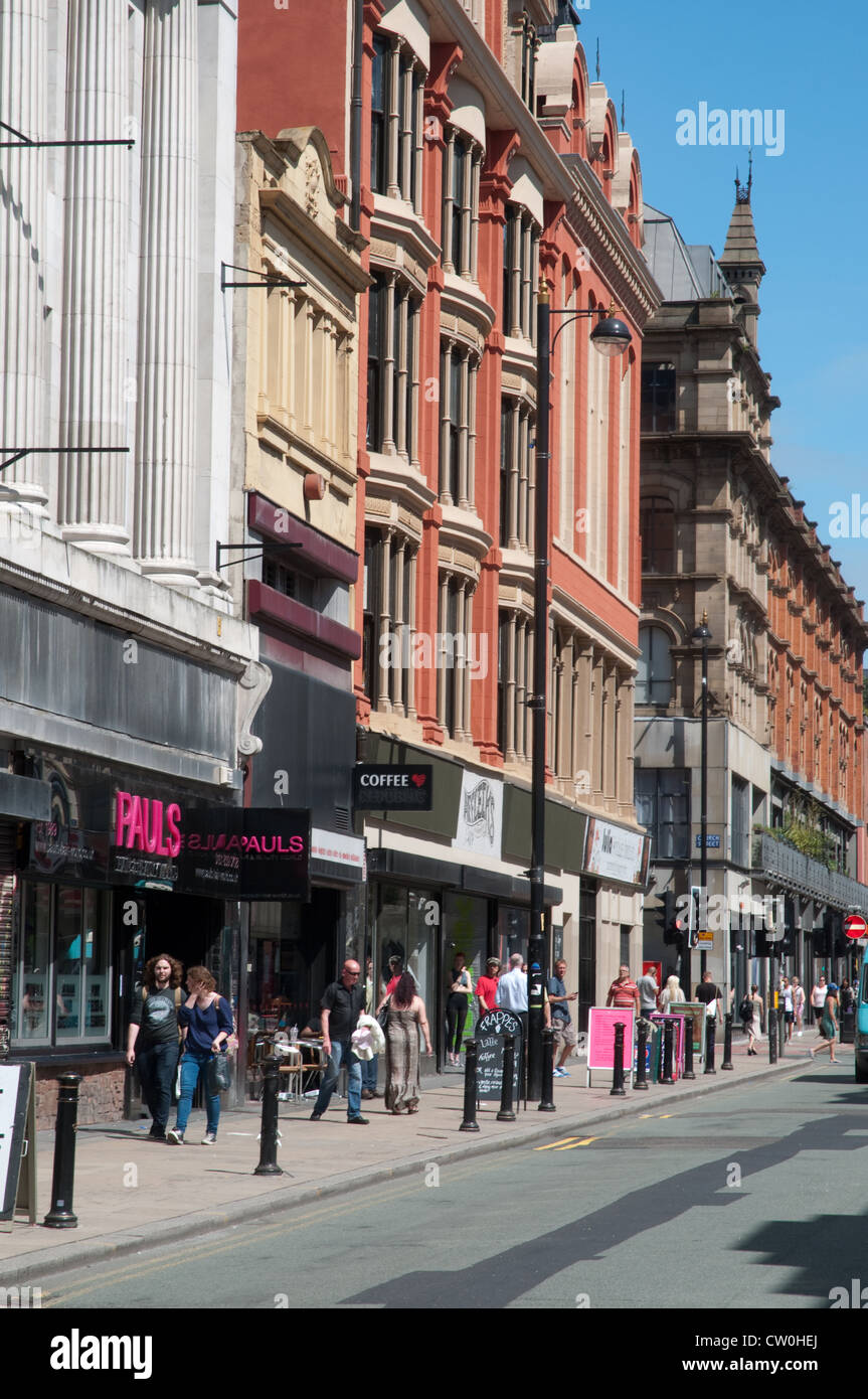 Oldham Street in the Norther Quarter district of Manchester.Home to alternative independents, creative industries,bars - Stock Image