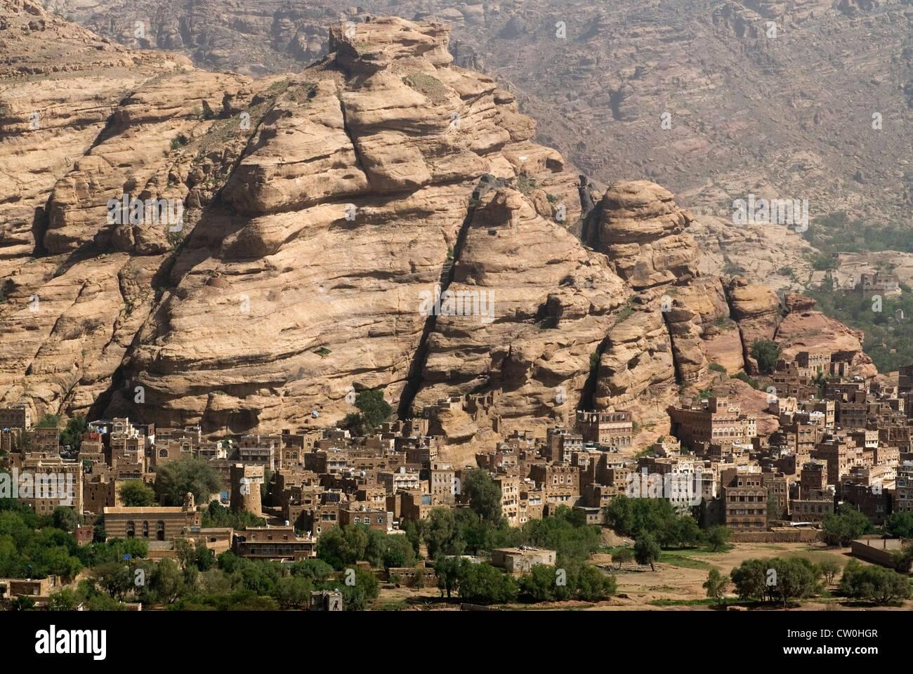 Landscape of Wadi Dhahr, Yemen, Western Asia, Arabian Peninsula. - Stock Image
