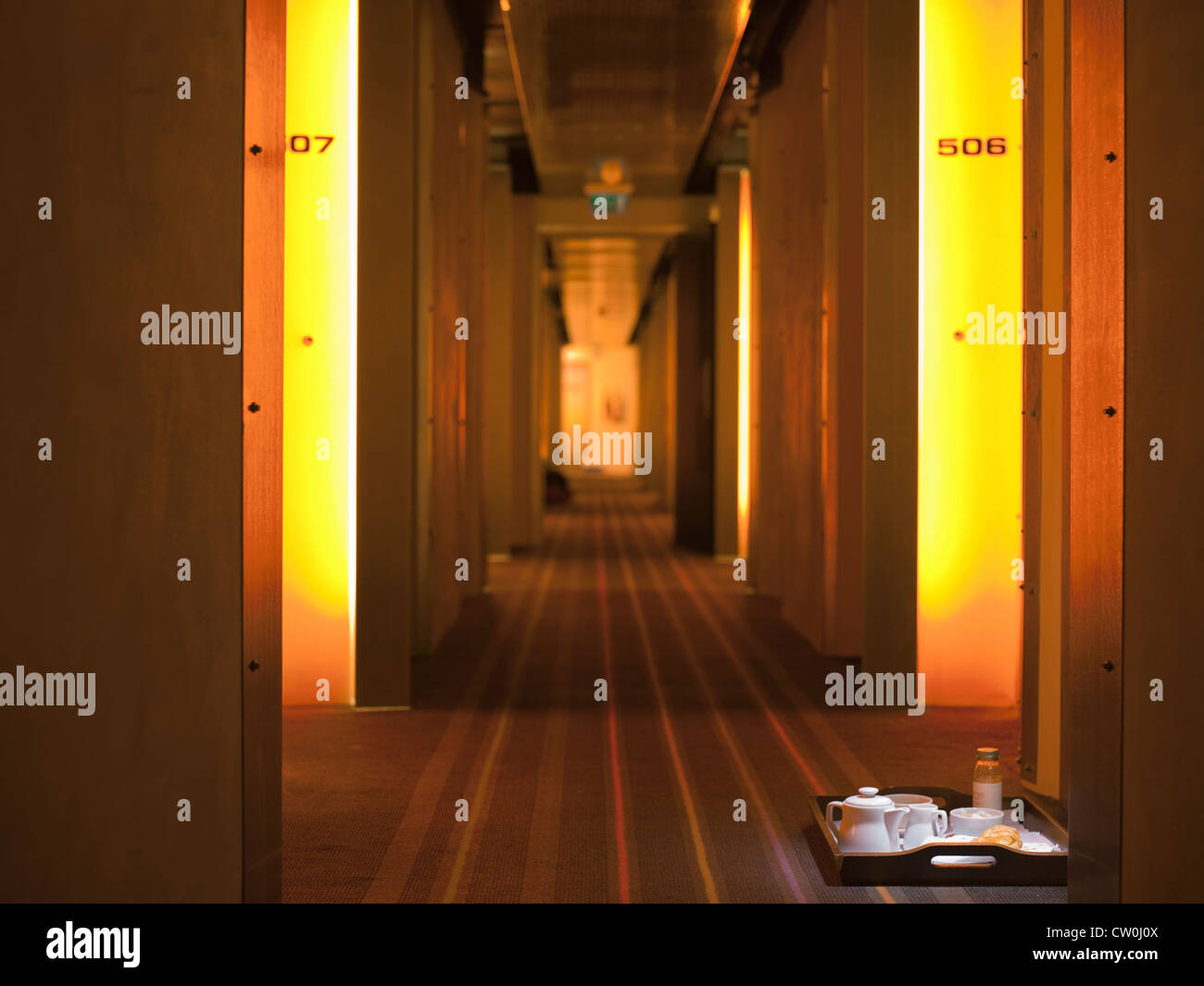 Hallway with room service tray in hotel - Stock Image