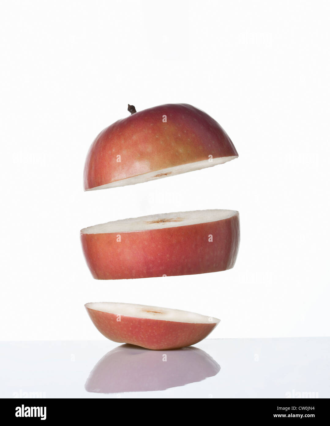 Close up of slices of apple - Stock Image