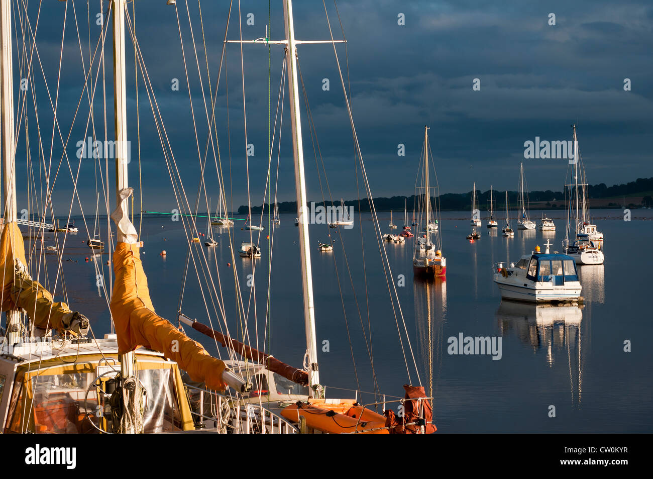 Topsham,Devon,England, on the east side of the River Exe toward Exmouth, moor, river, sailing - Stock Image