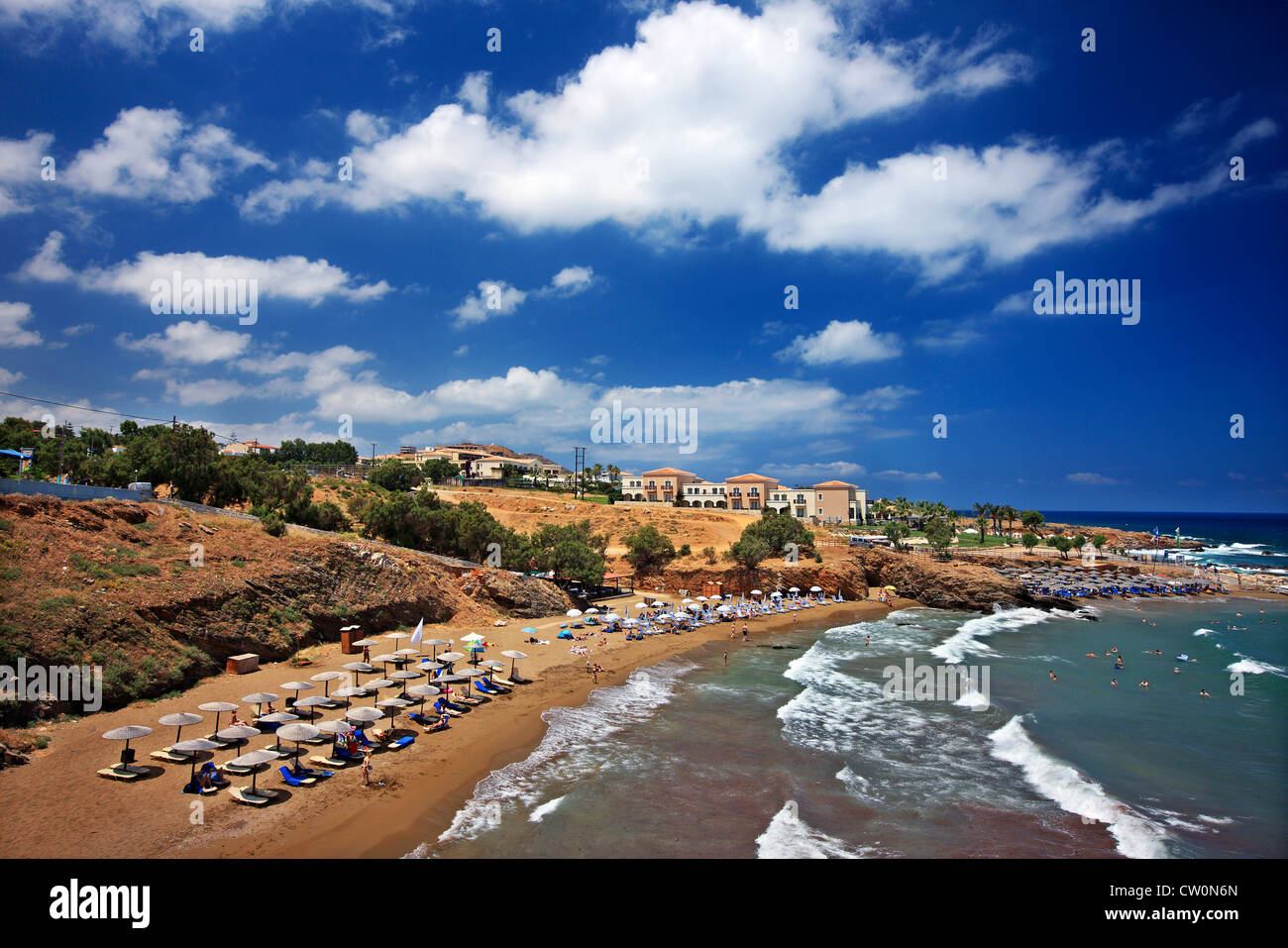 Pamormos village, popular touristic resort, at Rethymnon prefecture, Crete, Greece - Stock Image