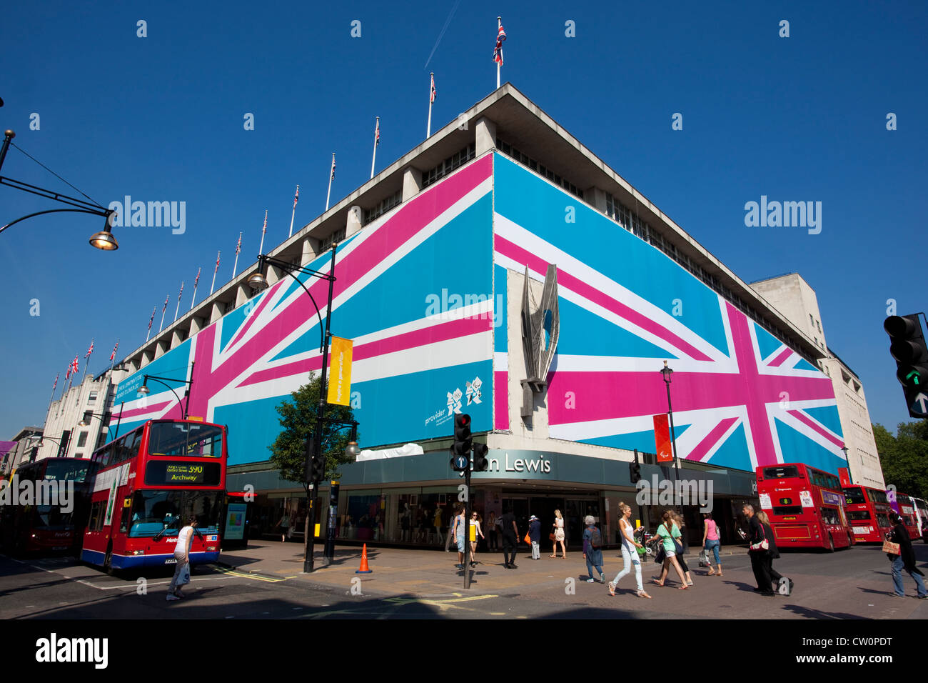 John Lewis flagship department store exterior wrapped with Union Jack to celebrate London Olympics, Oxford Street, - Stock Image