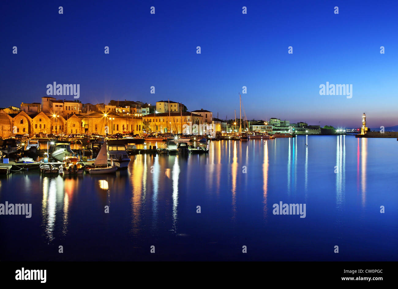 Night view of the old harbor of Chania town, Crete, Greece. Stock Photo