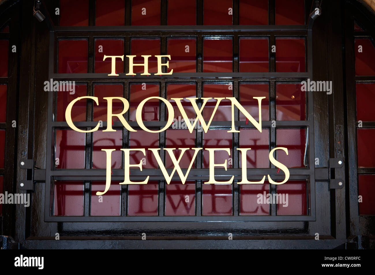 THE CROWN JEWELS sign above the entrance of the Jewel House building where the Crown Jewels are guarded & kept. - Stock Image