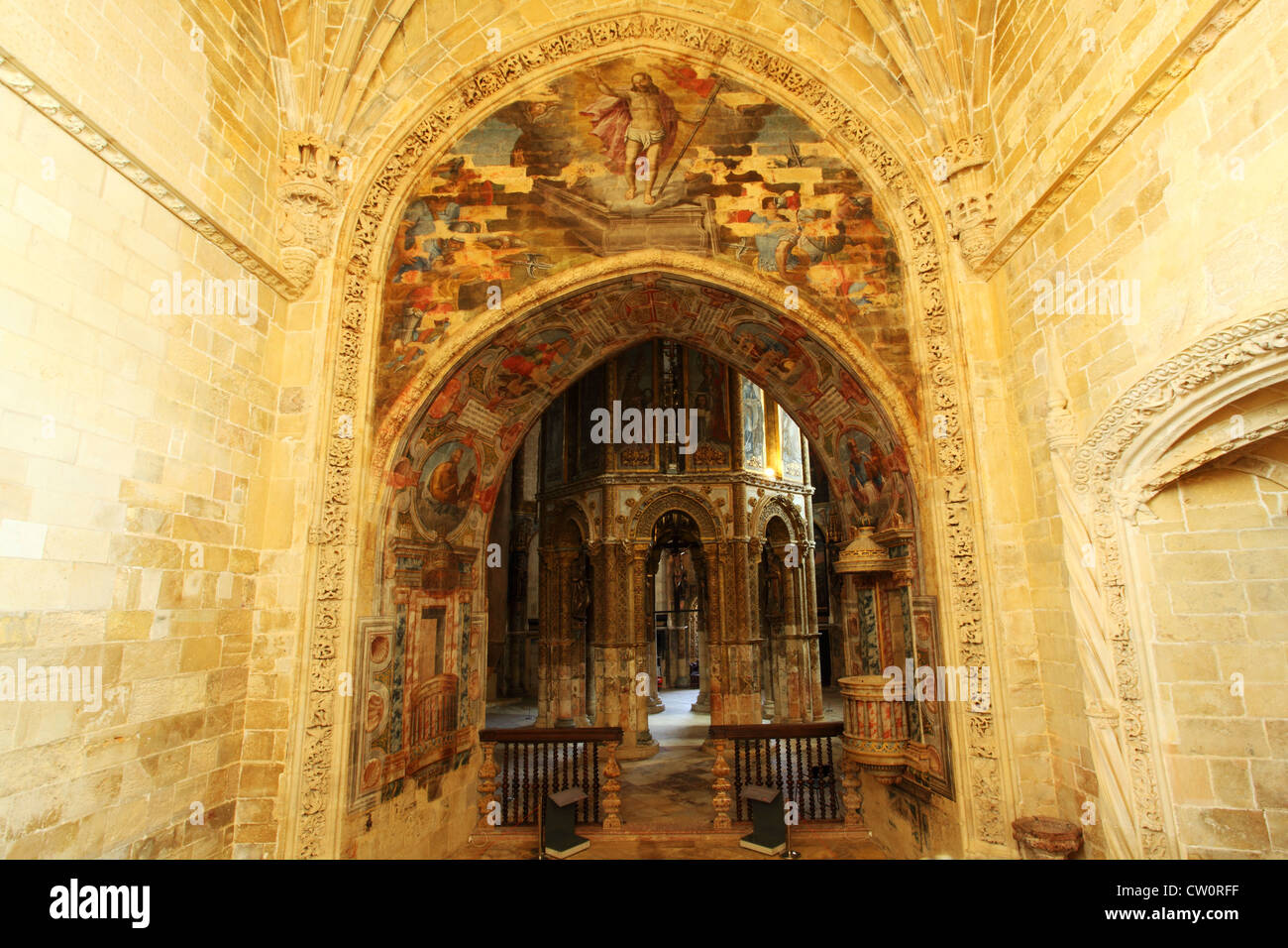 The Charola (also known as the Templars' Apse or Rotunda) at the Convent of Christ in Tomar, Portugal. - Stock Image