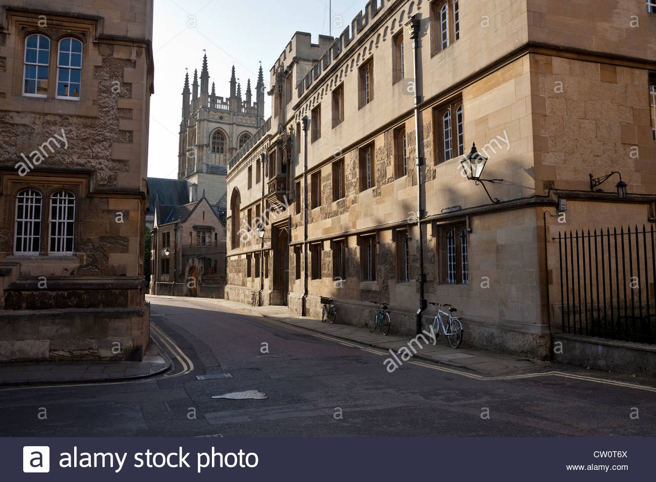 Corpus Christi College  and Merton College Tower from Oriel Square - Stock Image