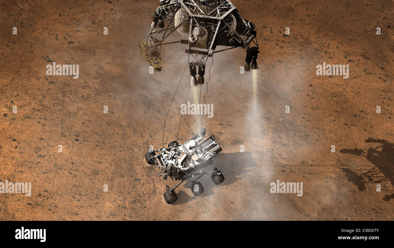 artist's concept the moment immediately after NASA's Curiosity rover touches down onto the Martian surface in Gale Stock Photo