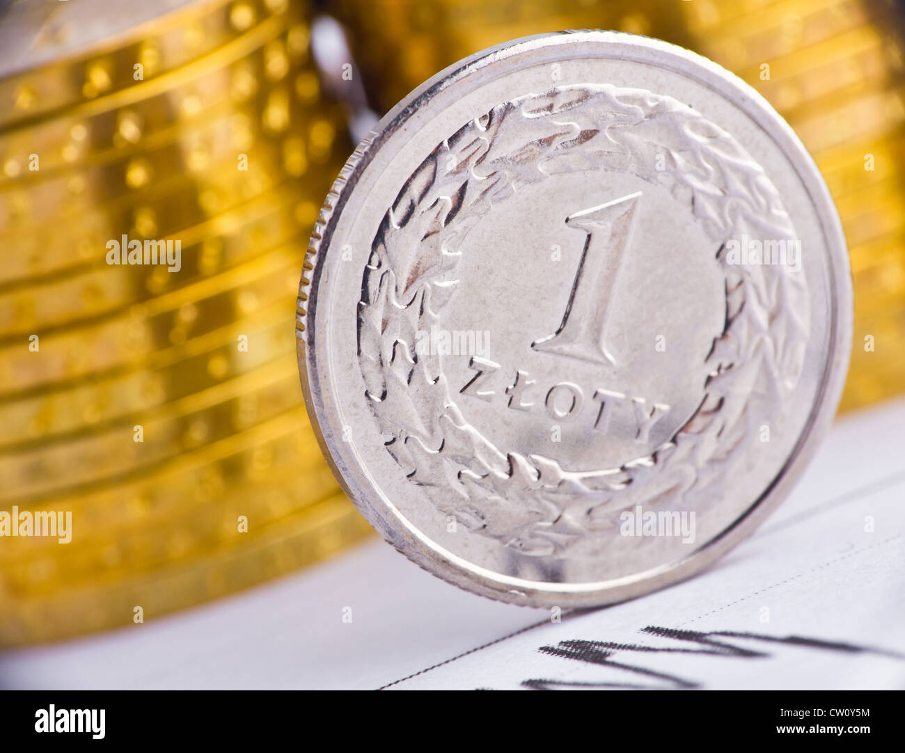 Extremely close up view of Poland currency - Stock Image