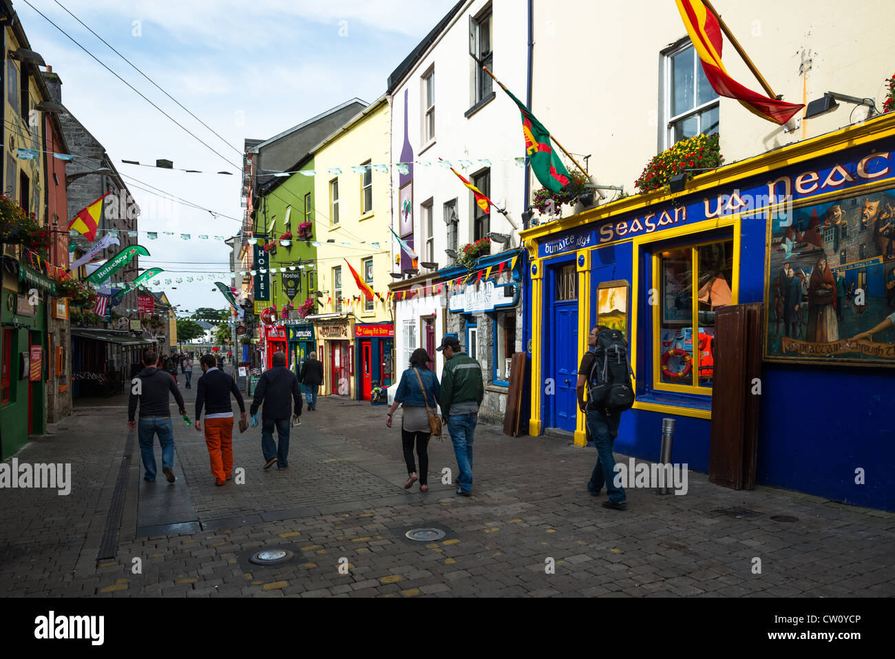 Colourful shops in the Latin quarter of Galway City, County Galway, Ireland. - Stock Image