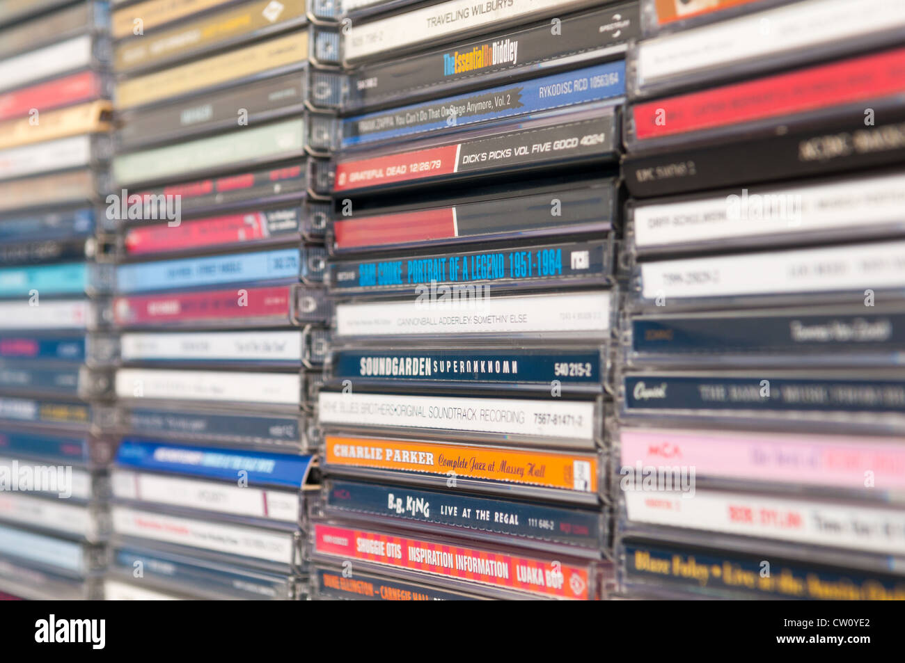 A row of music albums - Stock Image