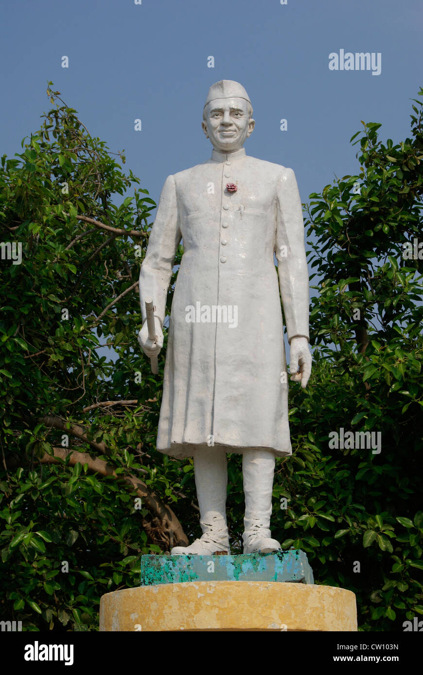 Jawaharlal Nehru Sculpture Monument in Pondicherry puducherry Tamil Nadu India.First Indian Prime Minister and Political - Stock Image