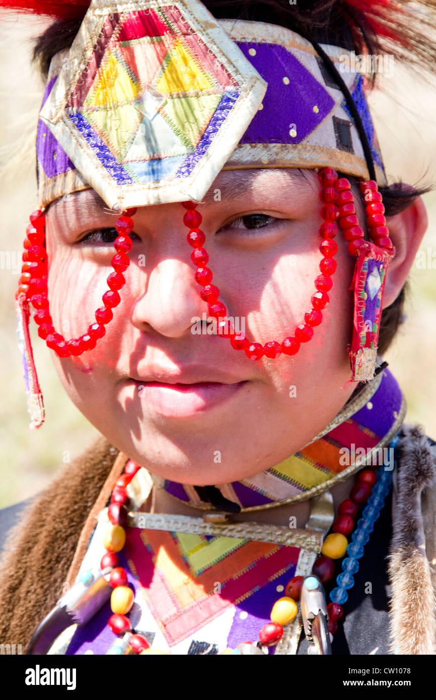 Native American in costume, Medicine Lodge Peace Treaty Pageant, Medicine Lodge, KS, USA - Stock Image