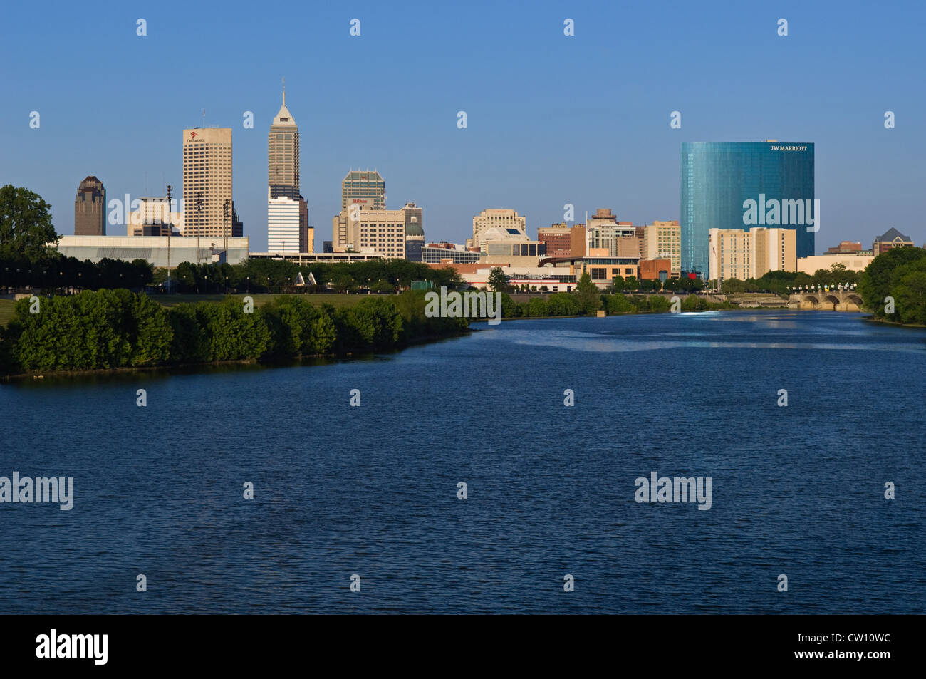Indianapolis Indiana Skyline from White River State Park - Stock Image