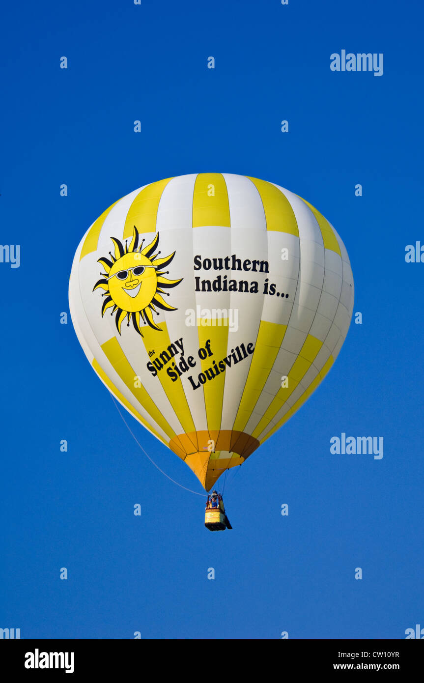 Hot Air Balloon Advertising Southern Indiana the Sunny Side of Louisville - Stock Image