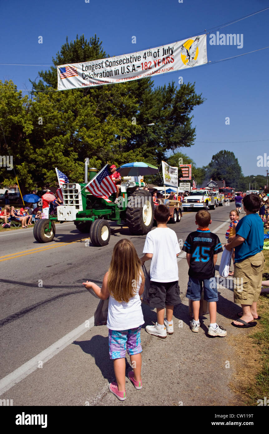 Children Watching Independence Day Parade in New Pekin, Indiana - Stock Image