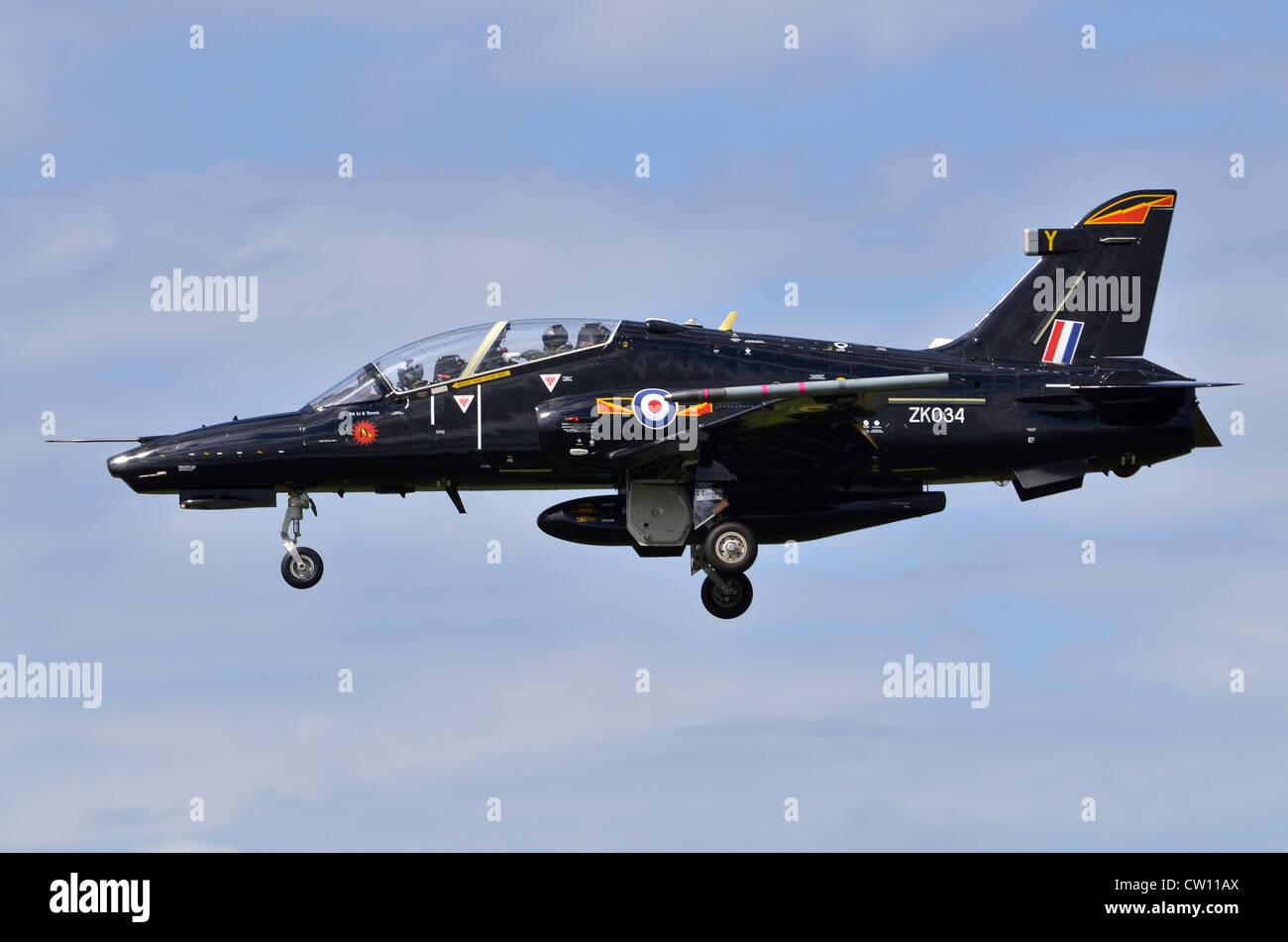 BAE Systems Hawk T2 aircraft operated by the RAF on approach for landing at RAF Fairford - Stock Image