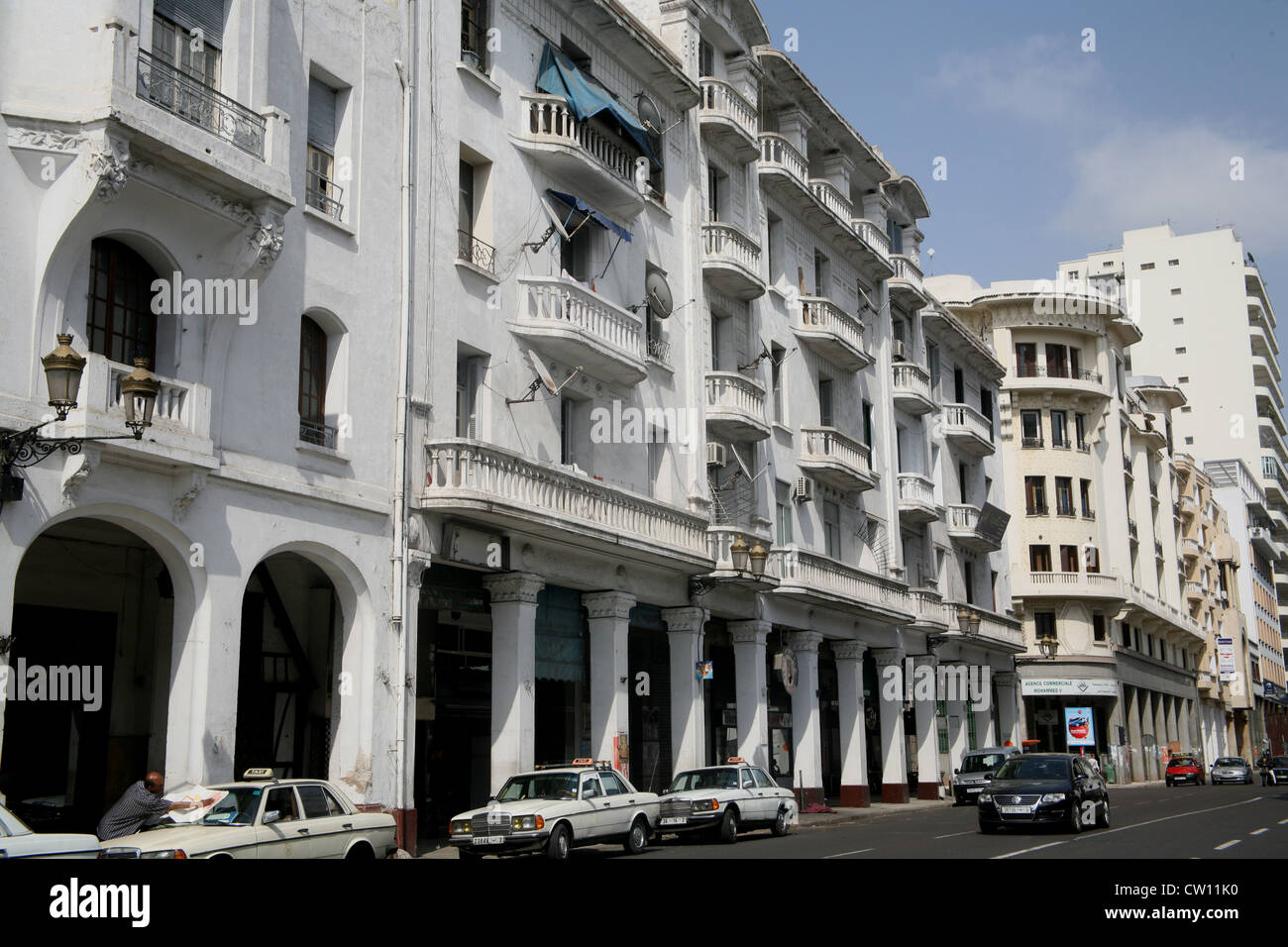 1930s architecture buildings on the Boulevard V Casablanca Morocco - Stock Image