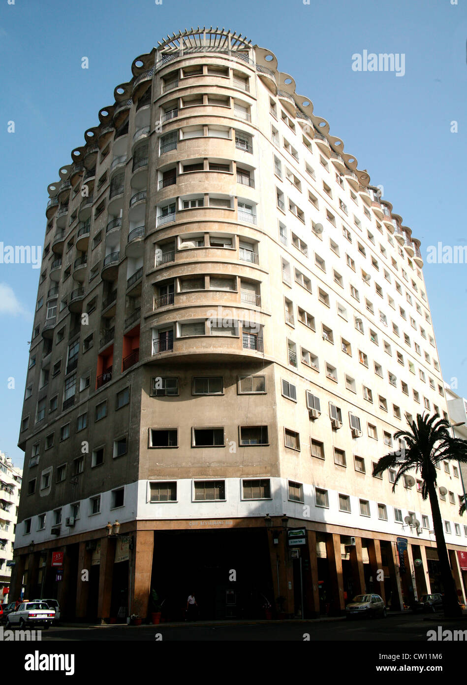 Marignan building in Casablanca 1954, architecture by Isaac Levy and Louis Zeligson Stock Photo