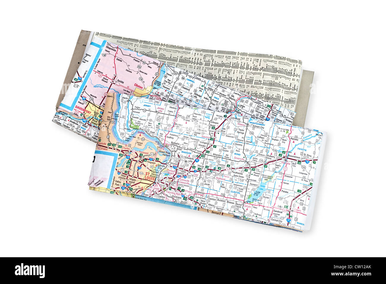 Road maps for use during vacation, business and general travel guidance. - Stock Image