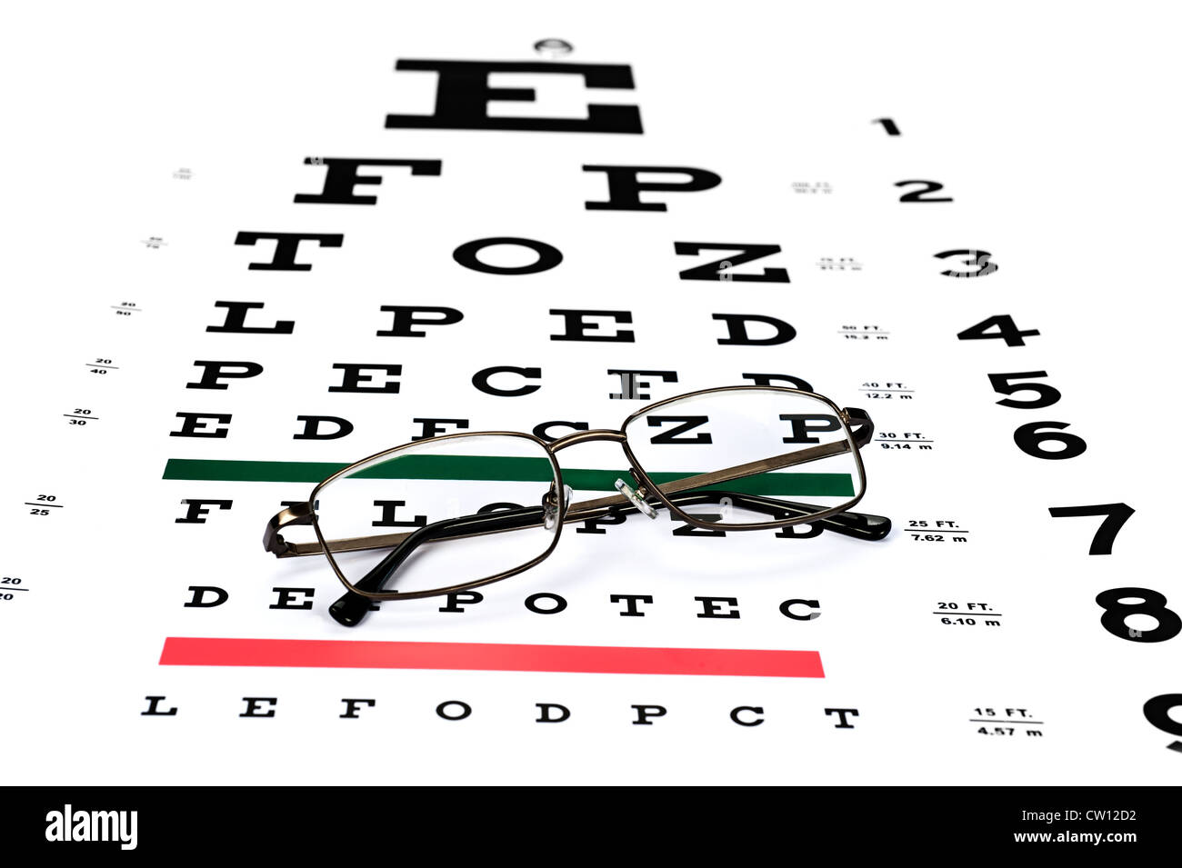 A pair of reading glasses on a snellen eye exam chart to test stock a pair of reading glasses on a snellen eye exam chart to test eyesight accuracy nvjuhfo Images
