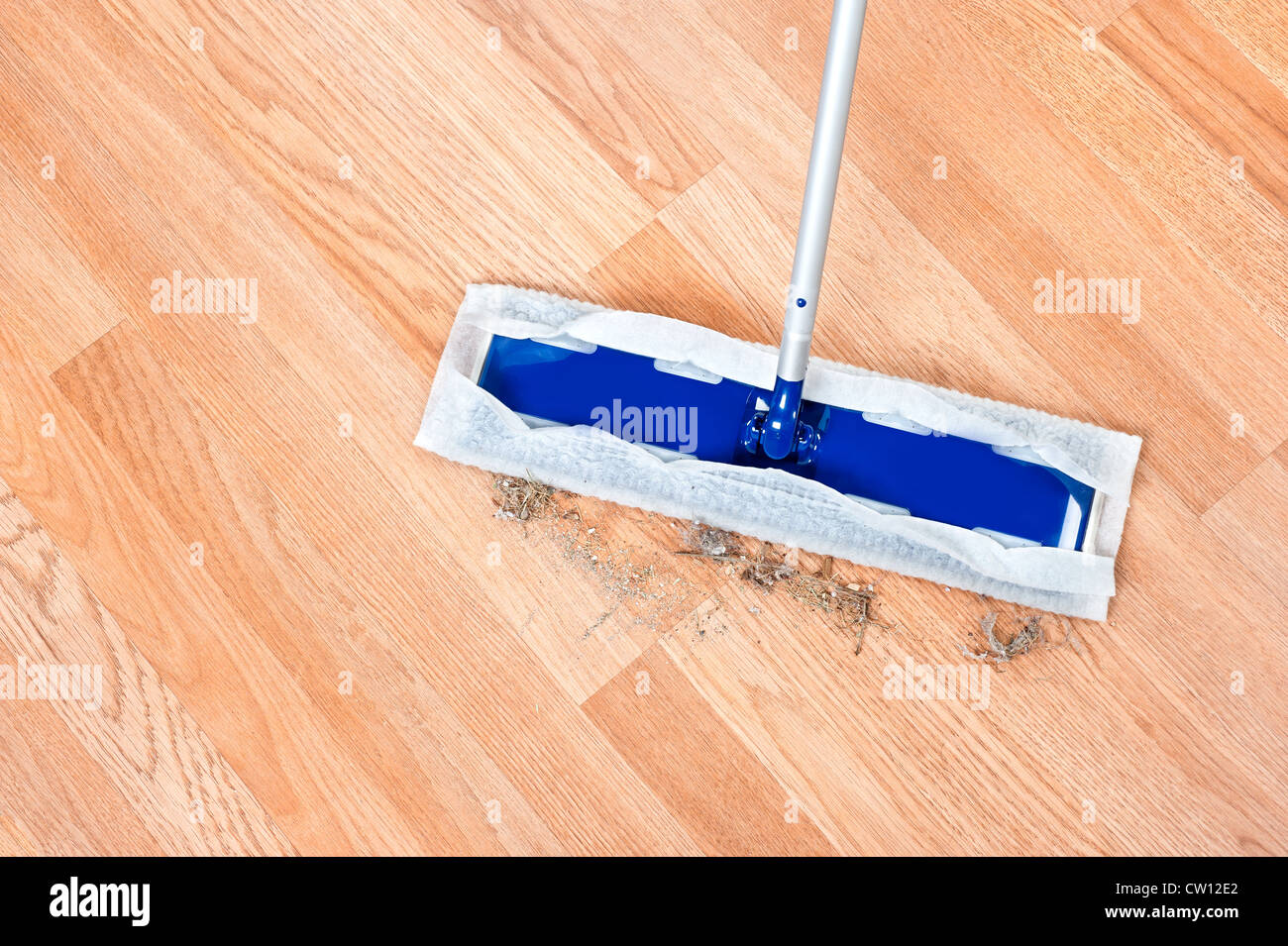 Image of a modern floor dusting mop being used to clean hair and dirt on a wooden laminent floor. - Stock Image