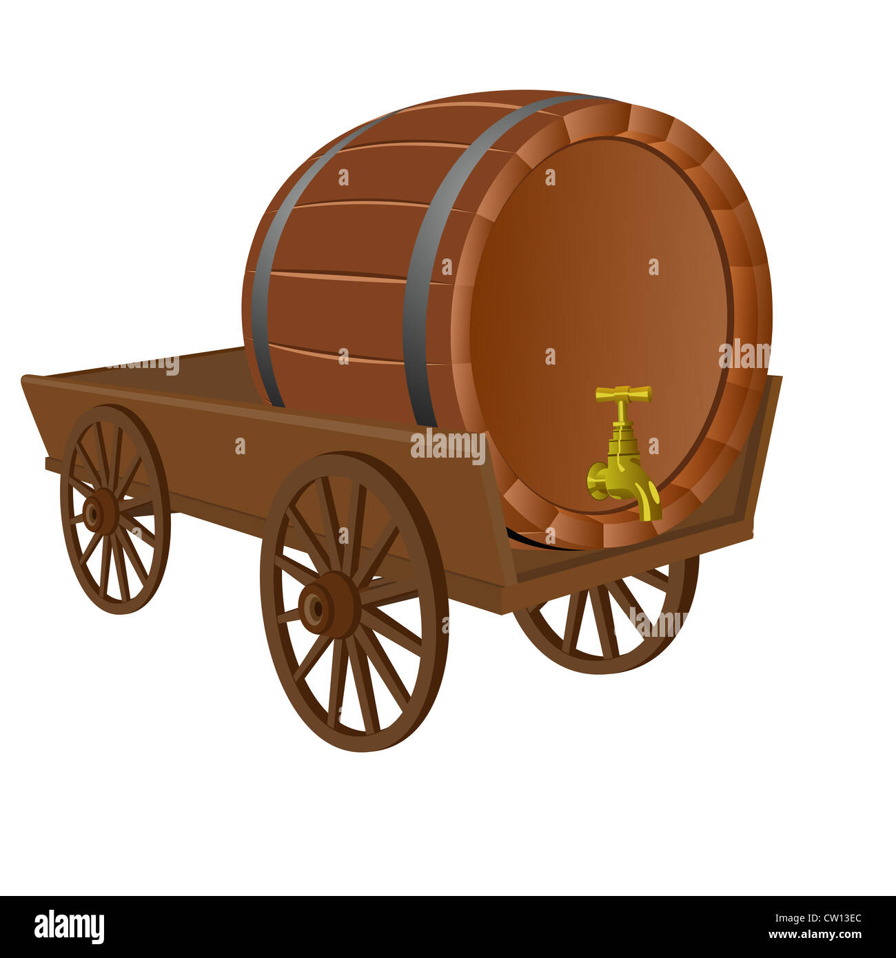 Cart with a keg - Stock Image