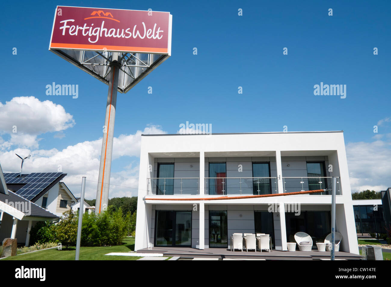 Modern highly energy efficient family house in kit home display park in Cologne Germany - Stock Image