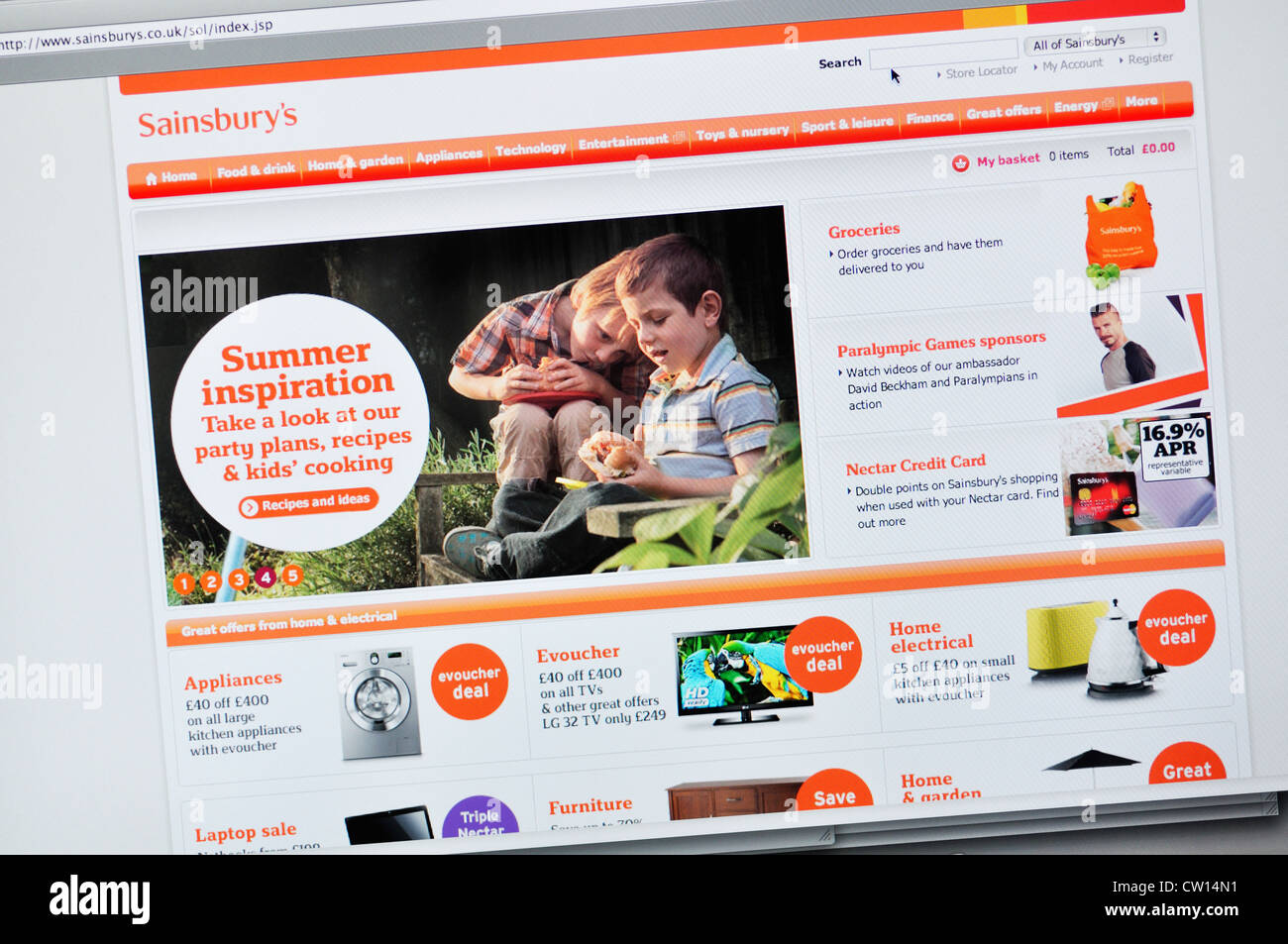 Sainsburys Website Stock Photo Alamy