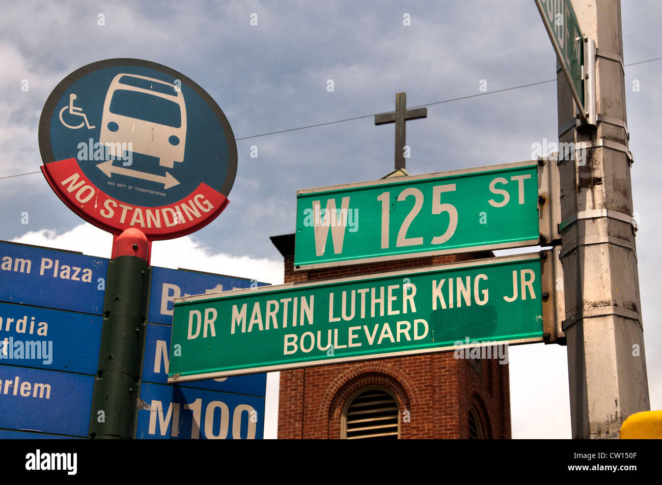 Dr Martin Luther King JR Boulevard Harlem New York  Manhattan United States - Stock Image