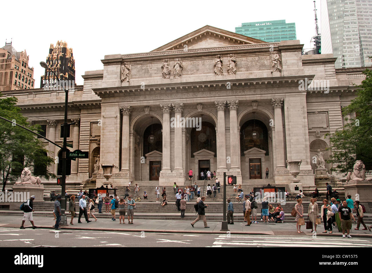 The New York Public Library 5th Avenue United States of America - Stock Image