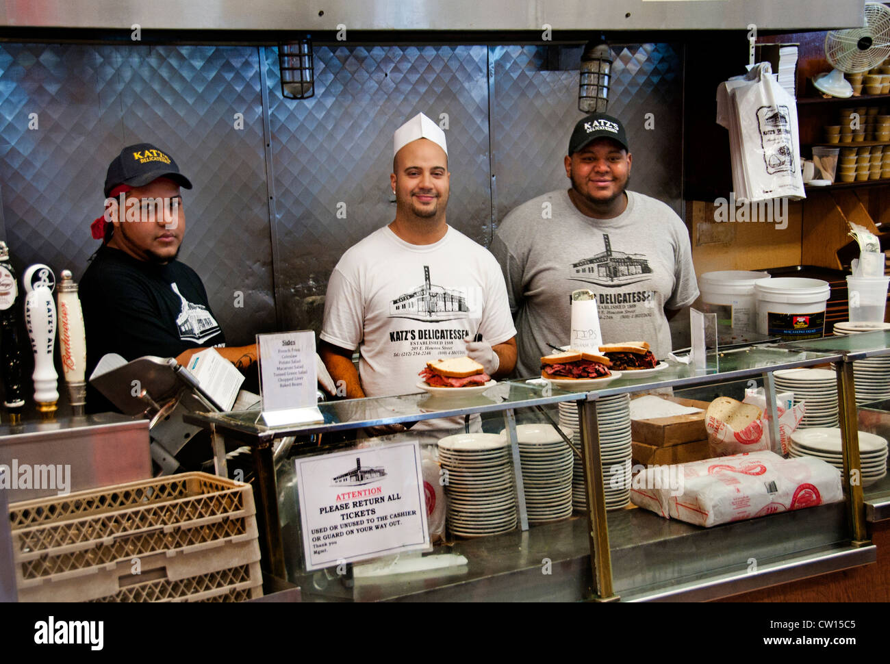 Restaurant Katz´s Jewish pastrami delicatessen deli diner New York City Manhattan  Lower East Side - Stock Image