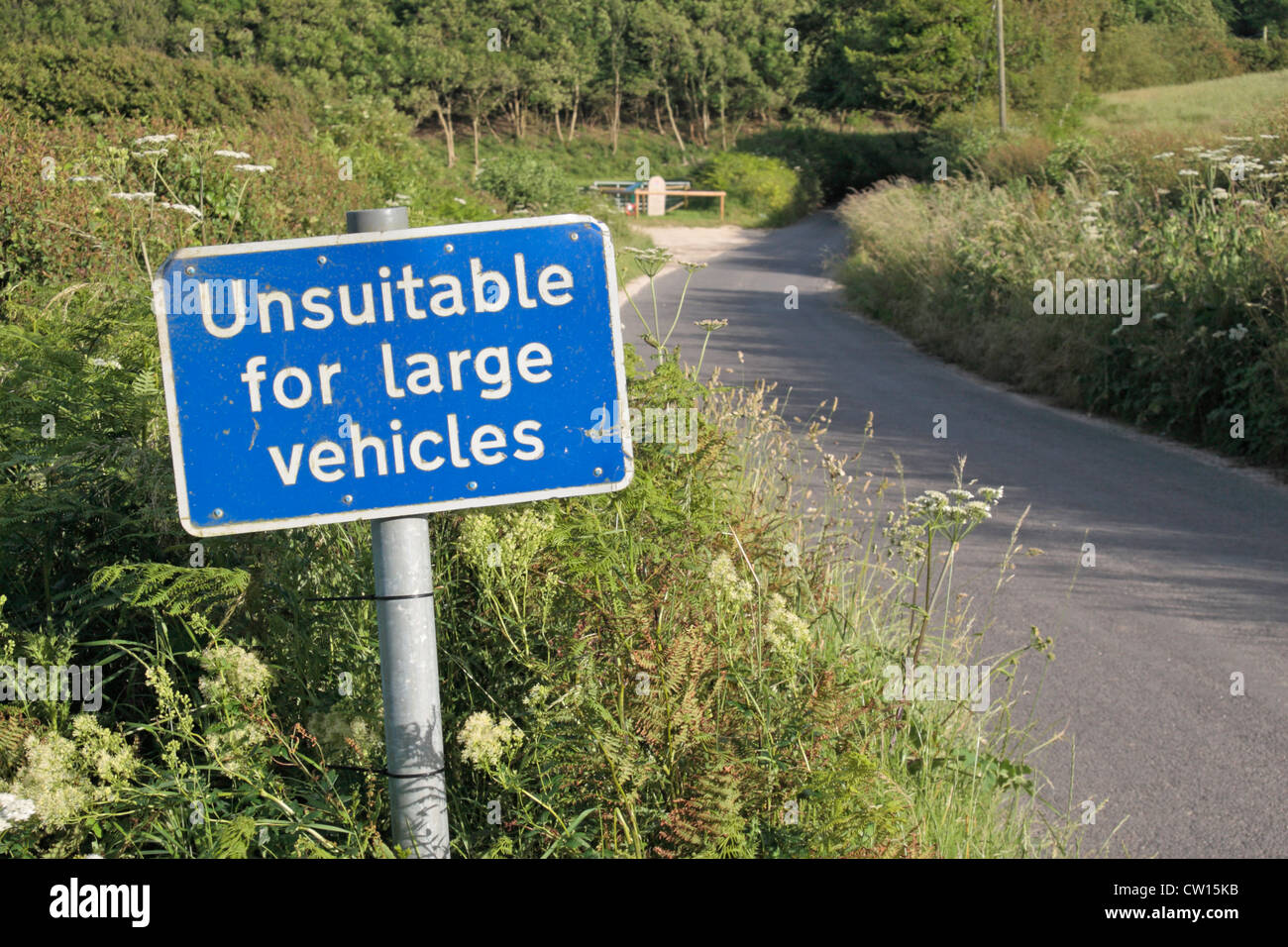 An 'Unsuitable for large vehicles' road sign on a small country road near Corfe Castle, Dorset, UK. - Stock Image