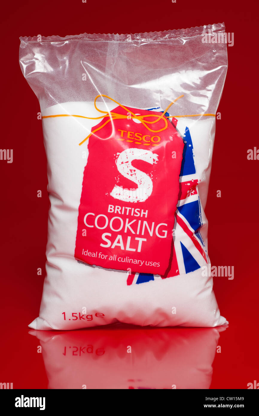 1.5 kilogram bag of Tesco cooking salt - Stock Image