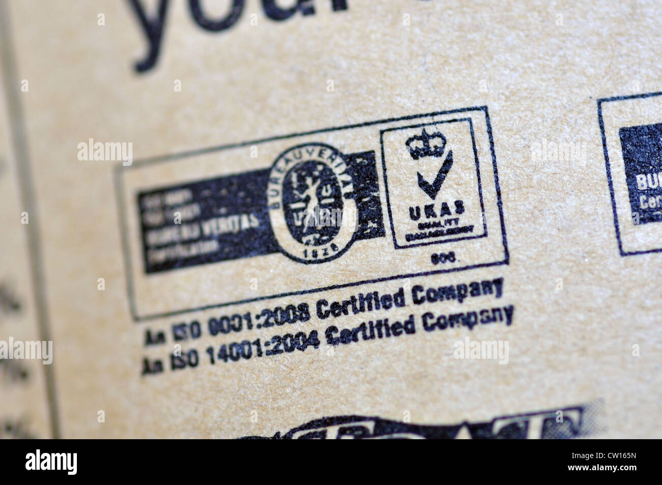 ISO Certified on food package - Stock Image