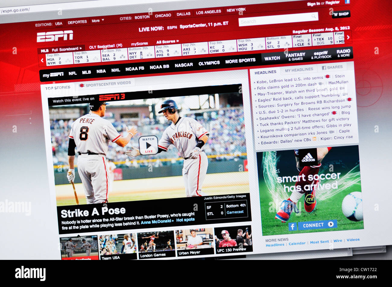 Espn Sports Channel Website Stock Photo Alamy