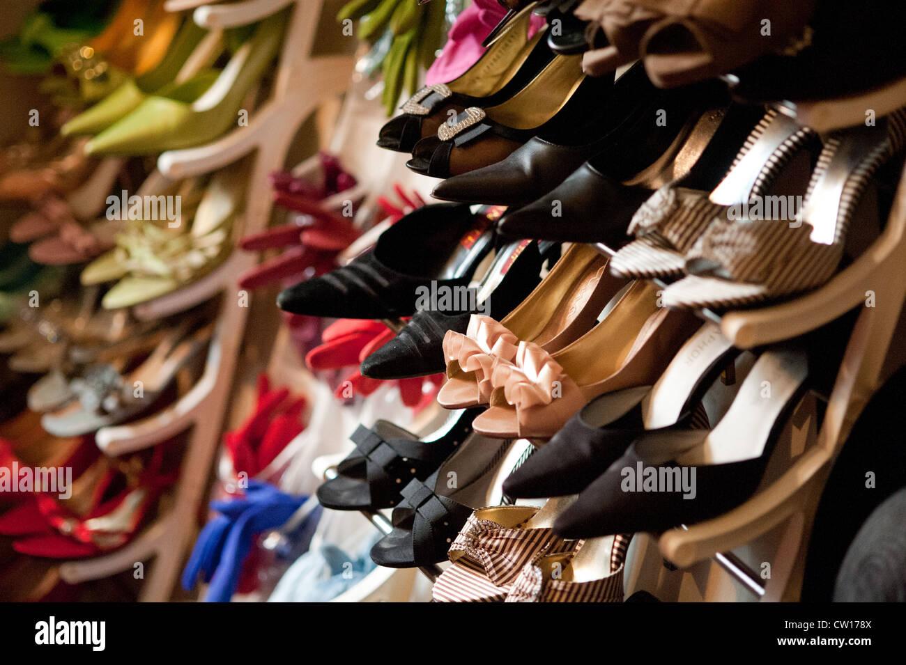Woman's salsa dancing heels in closet  - Stock Image
