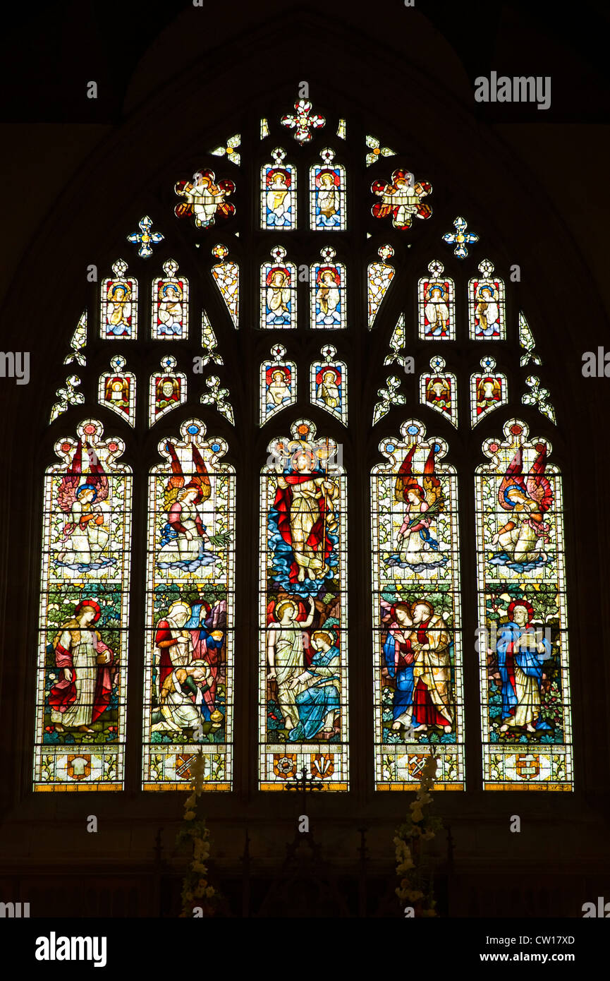 Church stained glass window in village of Brampton Bryan Herefordshire England UK - Stock Image