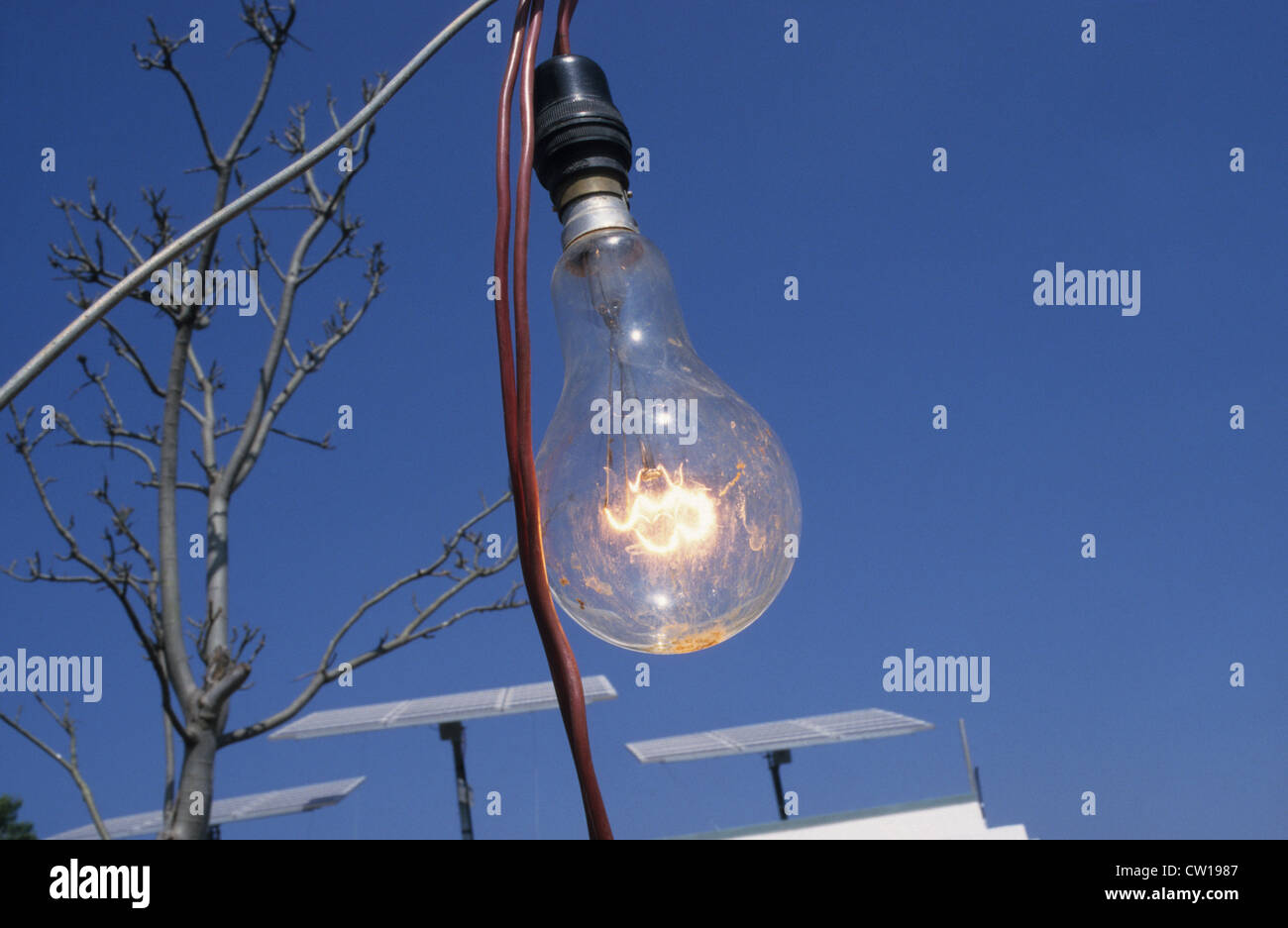 INDIA light bulb with solar power supply from Photovoltaic panel at farm near Bangalore - Stock Image