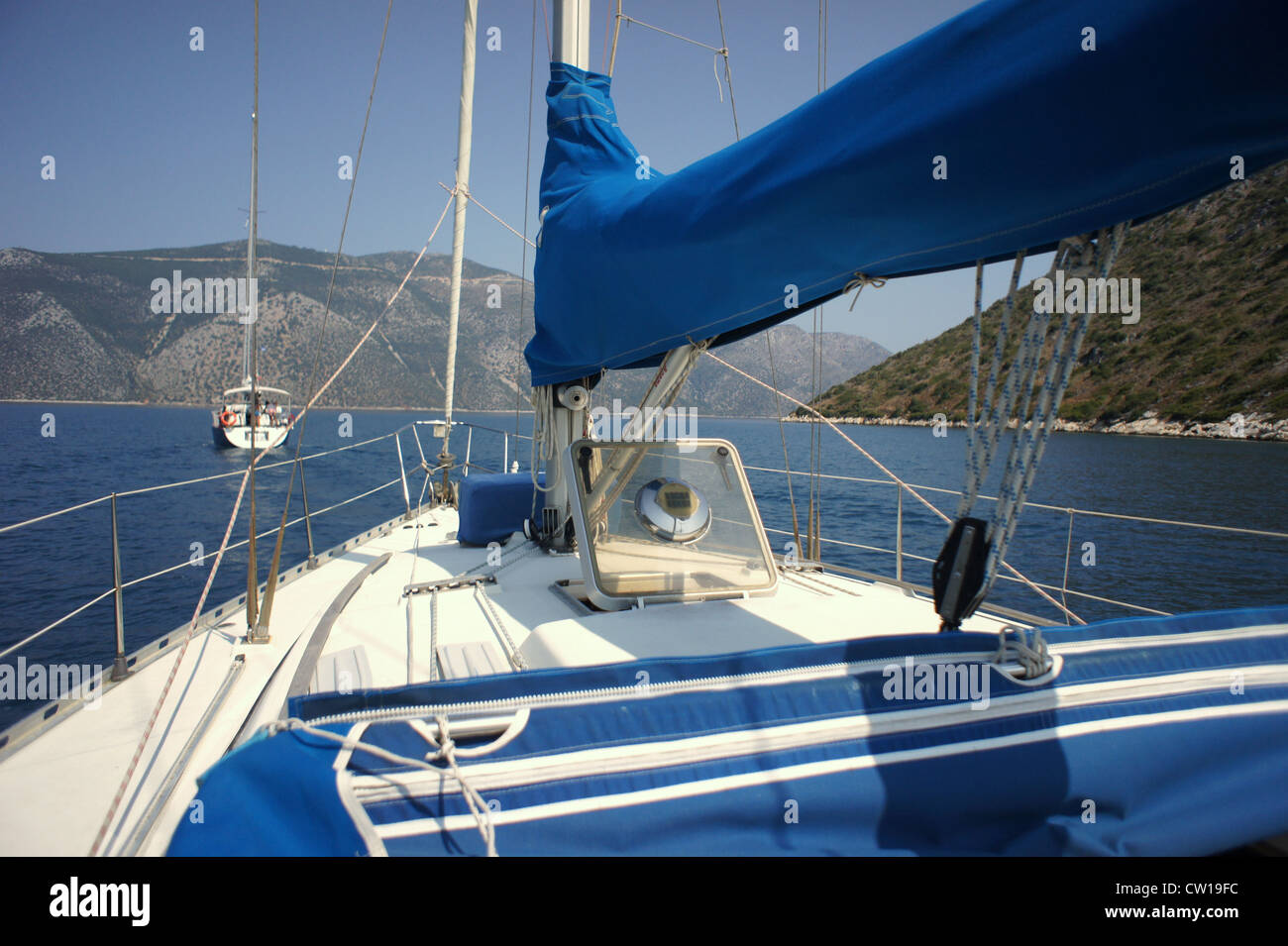 Sailing boats, Ionian Islands, Greece - Stock Image