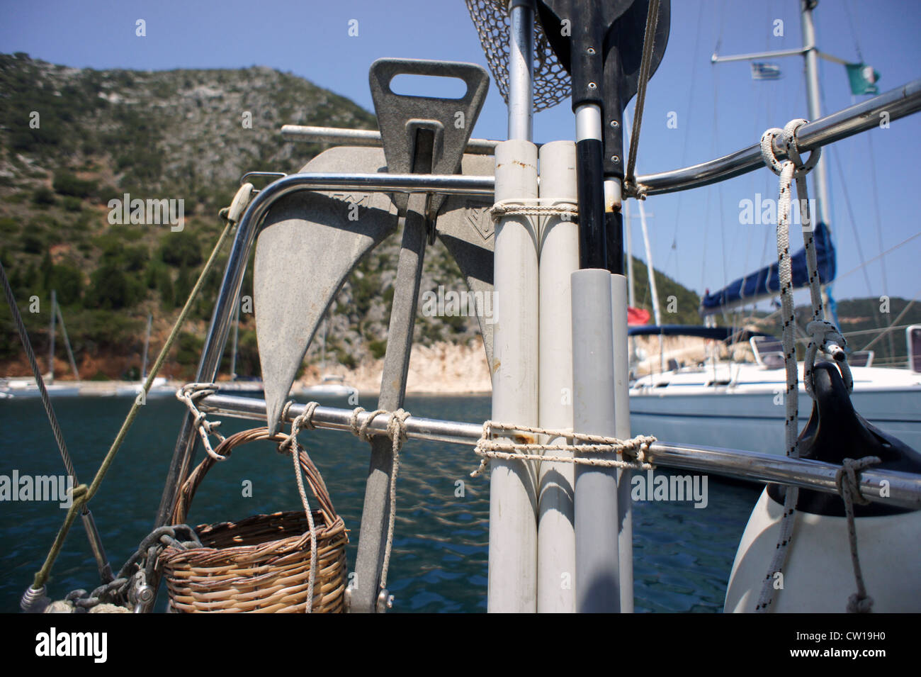 Detail of a sailing boat, Ionian Islands, Greece - Stock Image