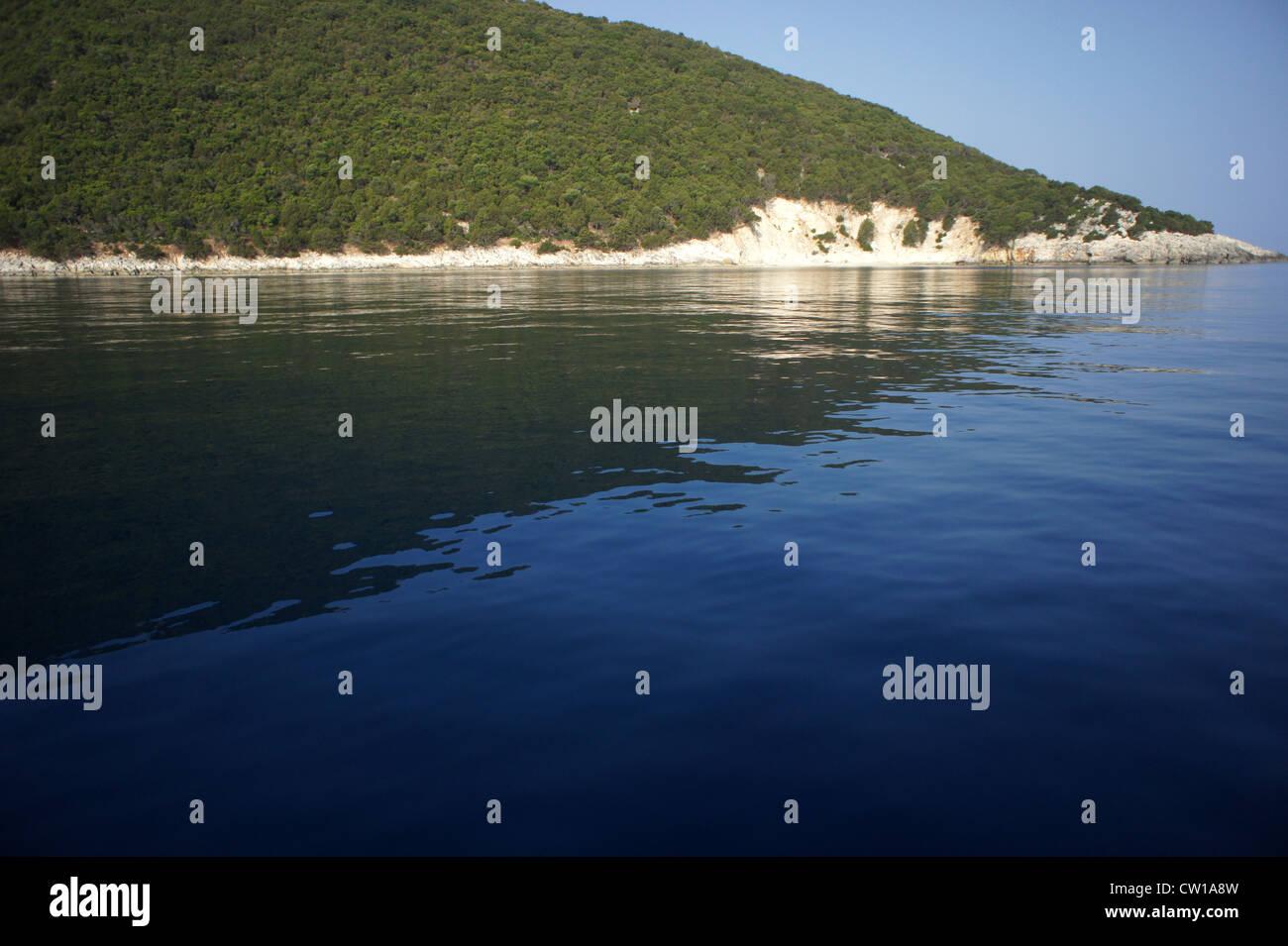 Northern Ithaca coastline, Ionian Sea, Greece. - Stock Image