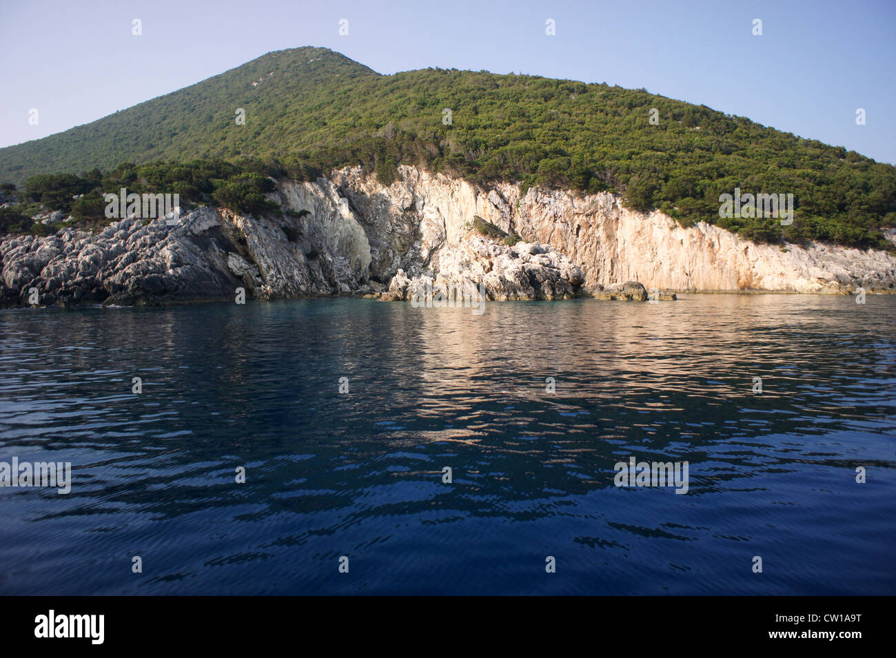 Coastline and cliffs on the island of Ithaca, Ionian Islands, Greece - Stock Image