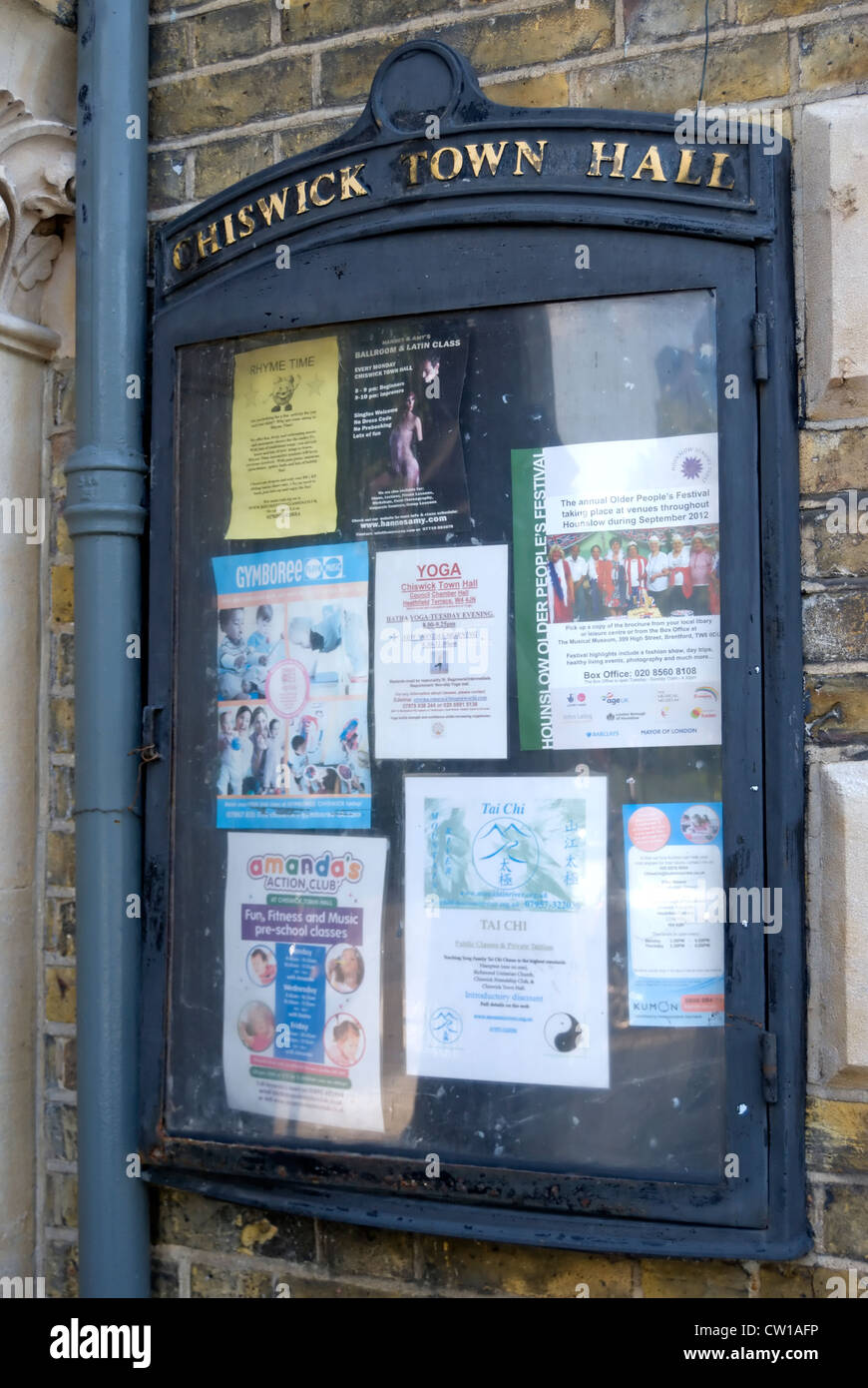 noticeboard at chiswick town hall, london, england - Stock Image