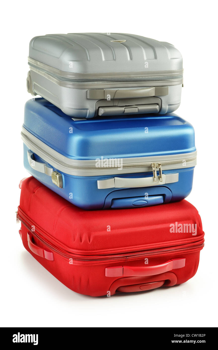Luggage consisting of plycarbonate suitcases isolated on white - Stock Image